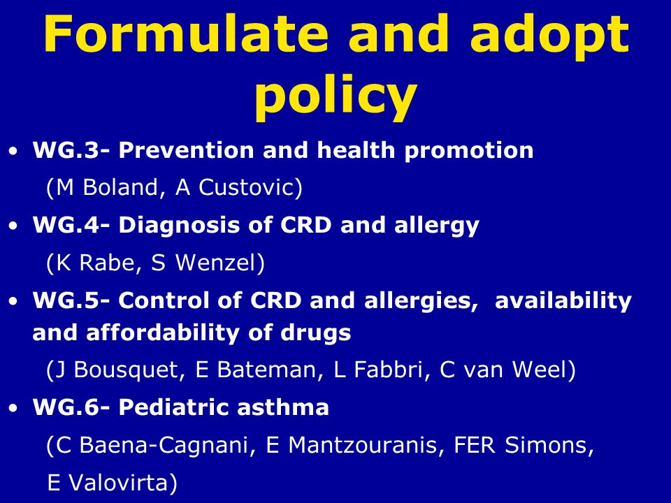 Formulate and adopt policy