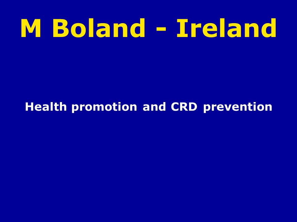 Health promotion and CRD prevention
