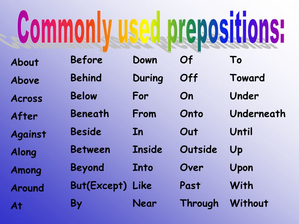 commonly used prepositions