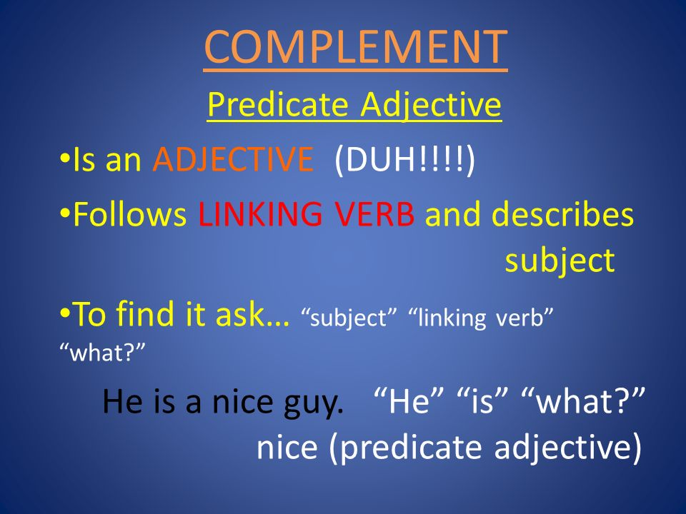 COMPLEMENT Predicate Adjective Is an ADJECTIVE (DUH!!!!)