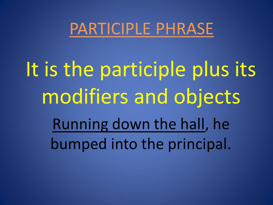 It is the participle plus its modifiers and objects