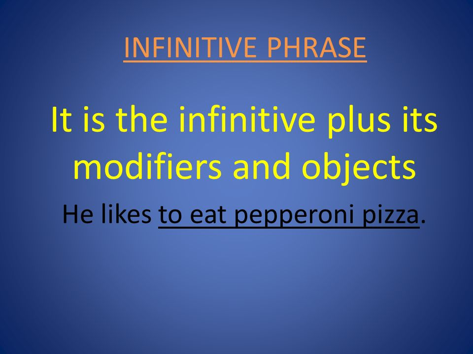 It is the infinitive plus its modifiers and objects
