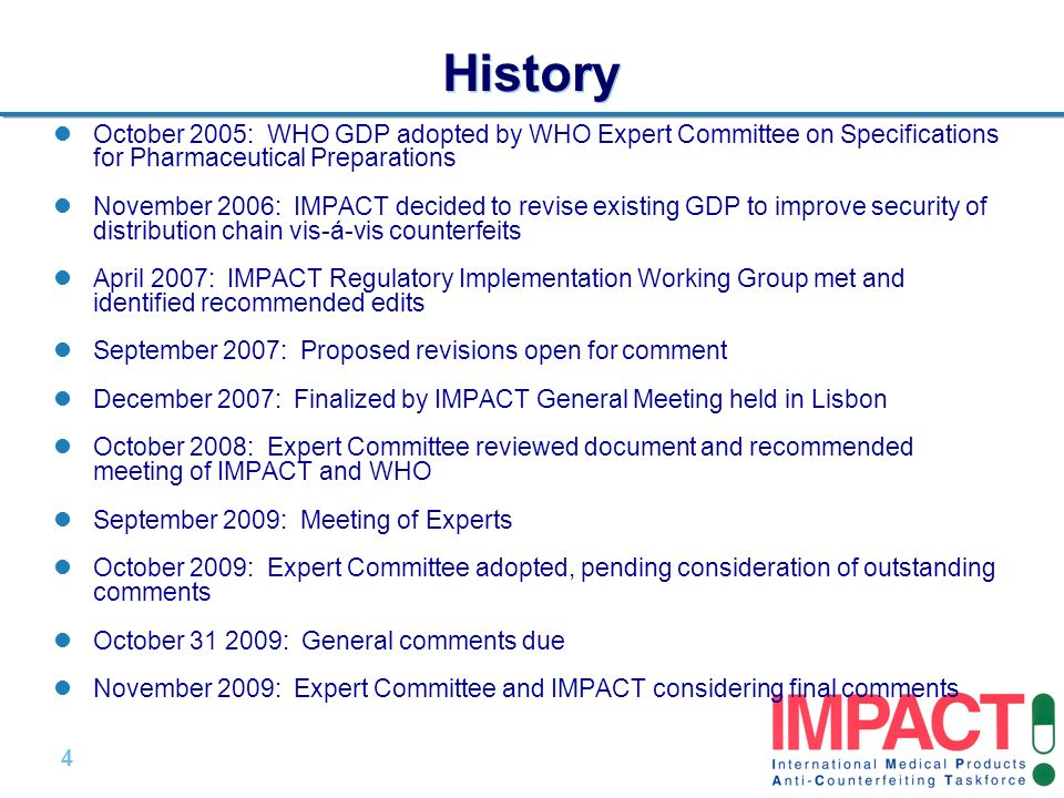 History October 2005: WHO GDP adopted by WHO Expert Committee on Specifications for Pharmaceutical Preparations.