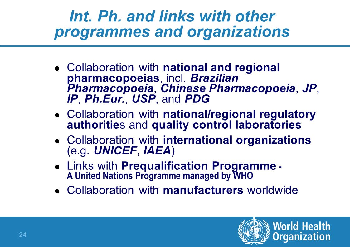 Int. Ph. and links with other programmes and organizations