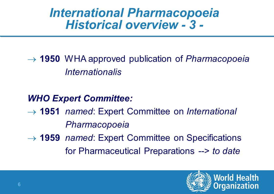 International Pharmacopoeia Historical overview - 3 -