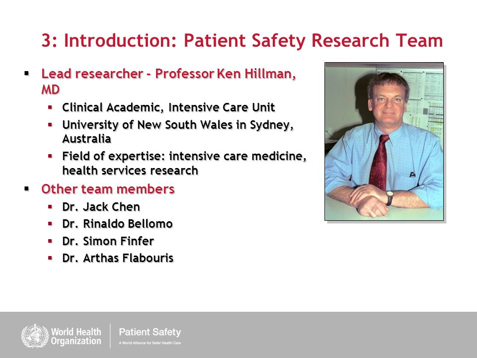 3: Introduction: Patient Safety Research Team