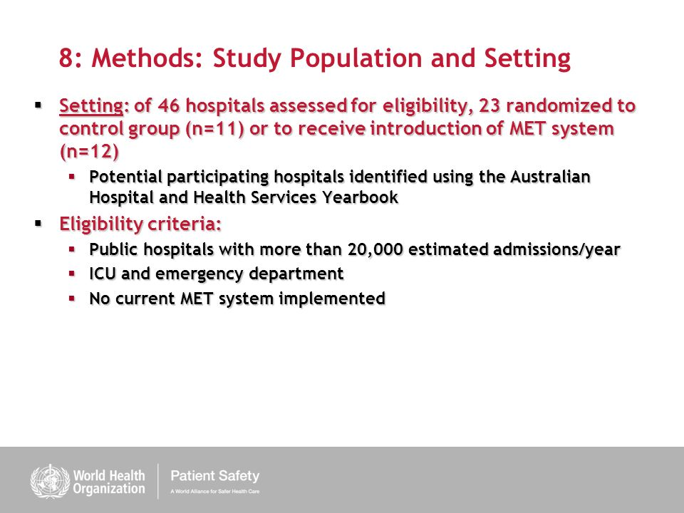 8: Methods: Study Population and Setting