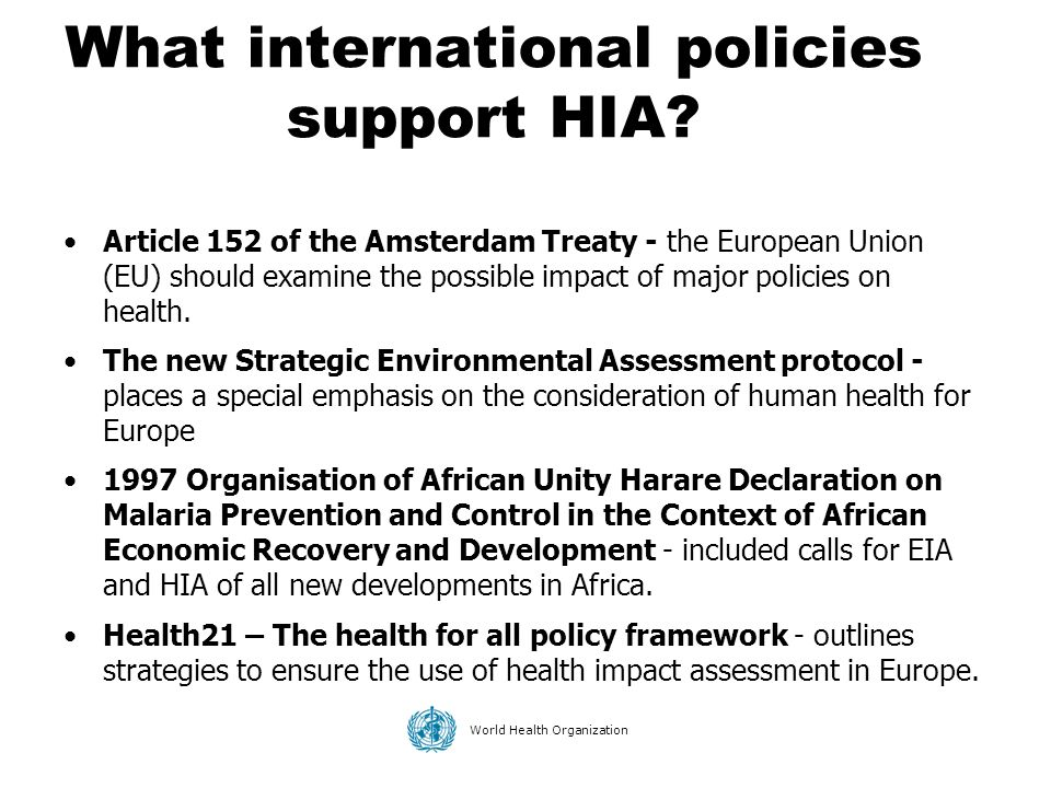 What international policies support HIA