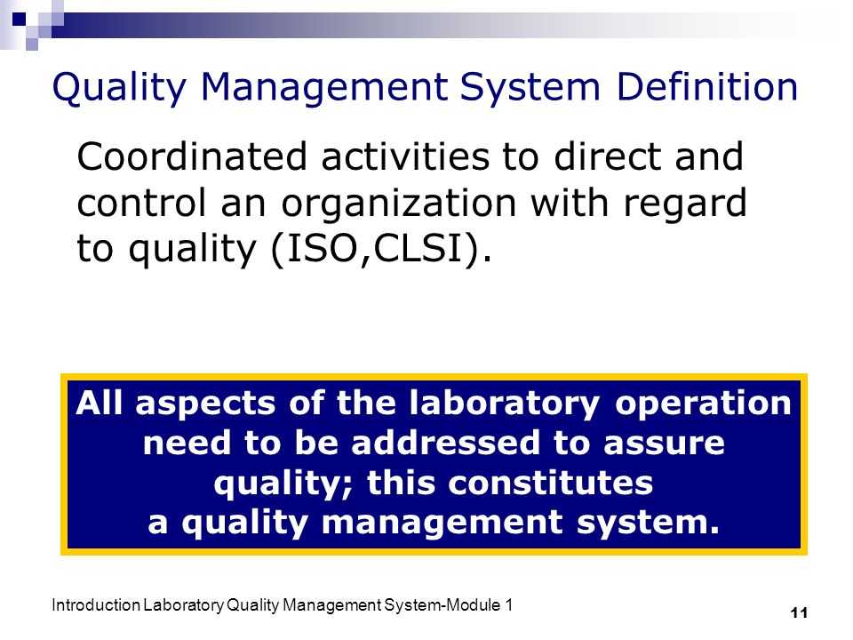 Quality Management System Definition