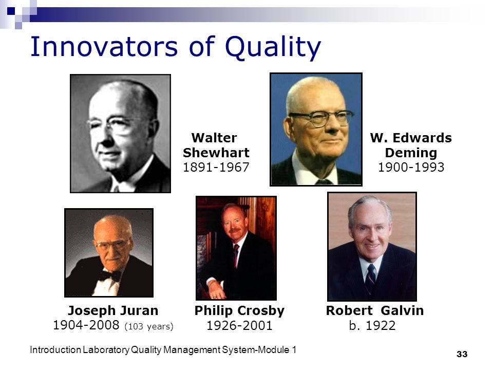 Innovators of Quality Walter Shewhart 1891-1967