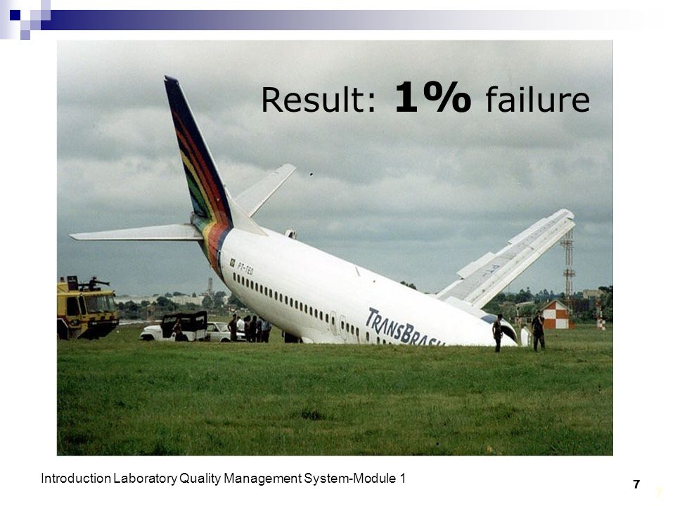 Result: 1% failure Introduction Laboratory Quality Management System-Module 1 7