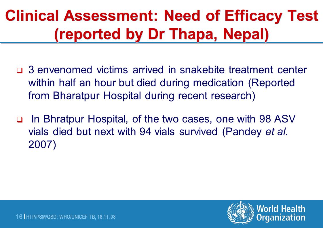 Clinical Assessment: Need of Efficacy Test (reported by Dr Thapa, Nepal)