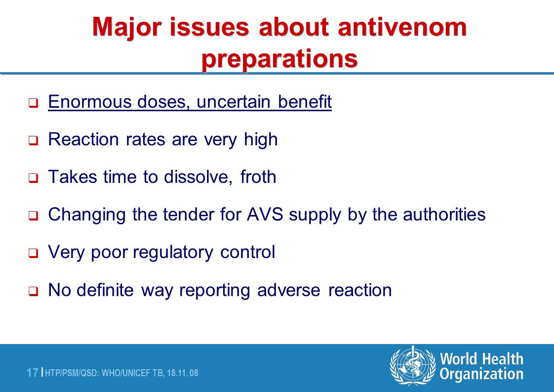 Major issues about antivenom preparations