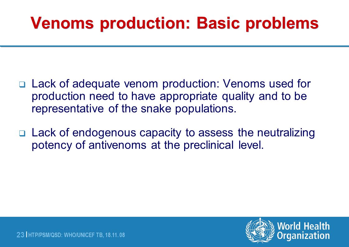 Venoms production: Basic problems