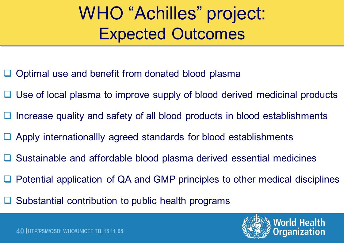 WHO Achilles project: Expected Outcomes