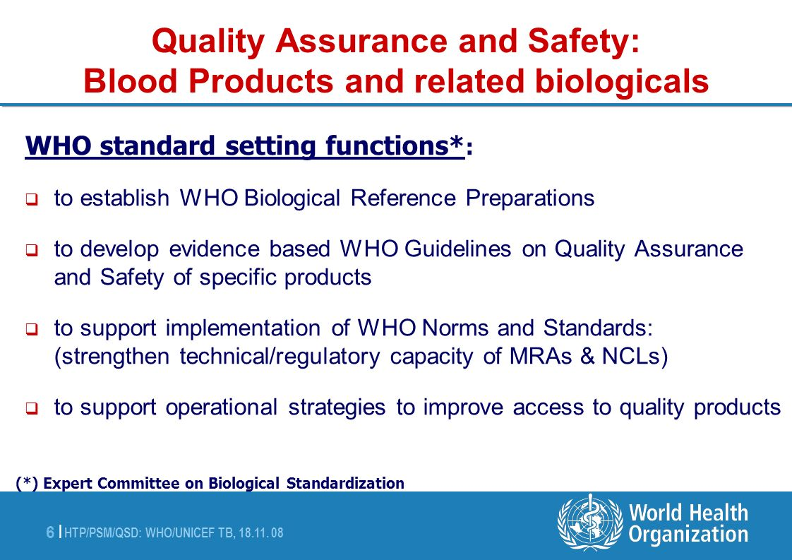 Quality Assurance and Safety: Blood Products and related biologicals