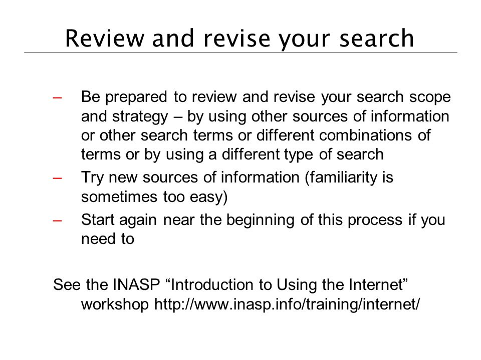 Review and revise your search