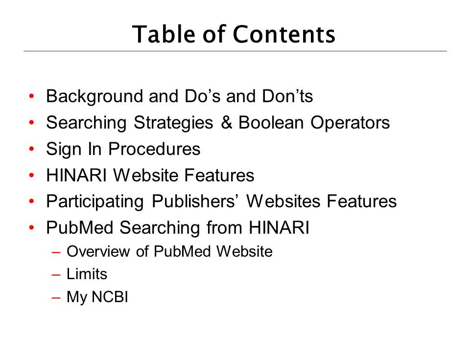 Table of Contents Background and Do's and Don'ts