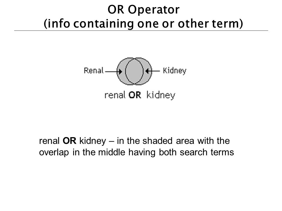 OR Operator (info containing one or other term)