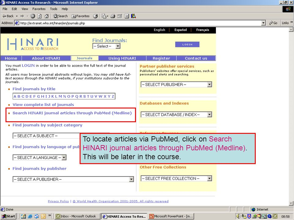 Accessing journals by via PubMed
