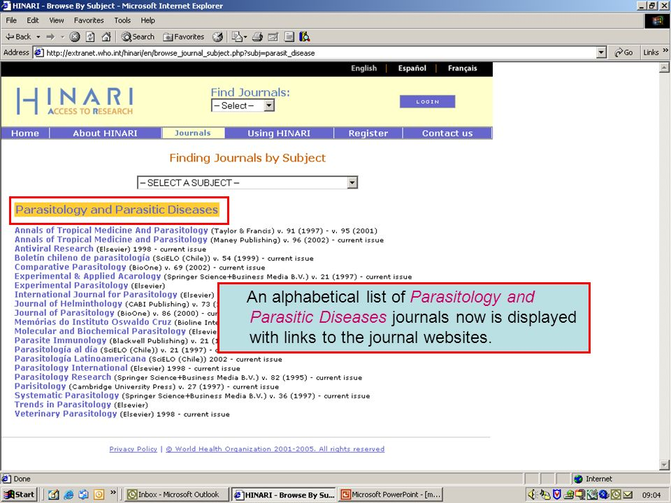 Accessing journals by subject 4