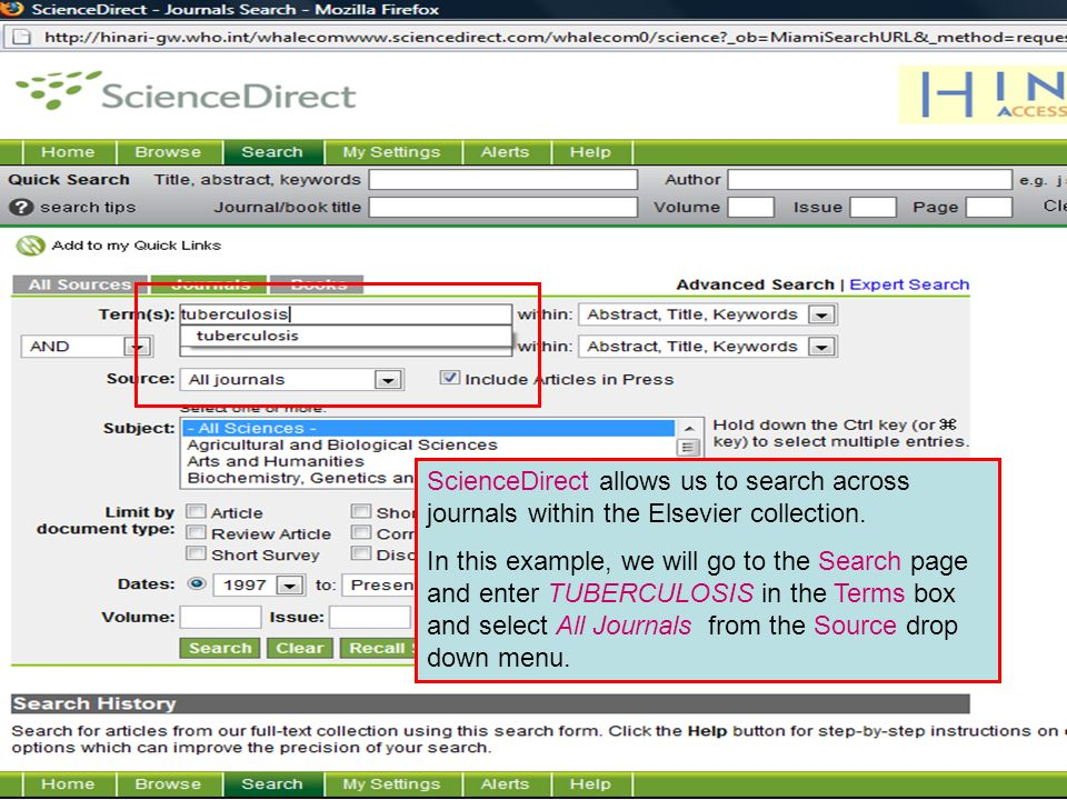 Science Direct 2 ScienceDirect allows us to search across journals within the Elsevier collection.