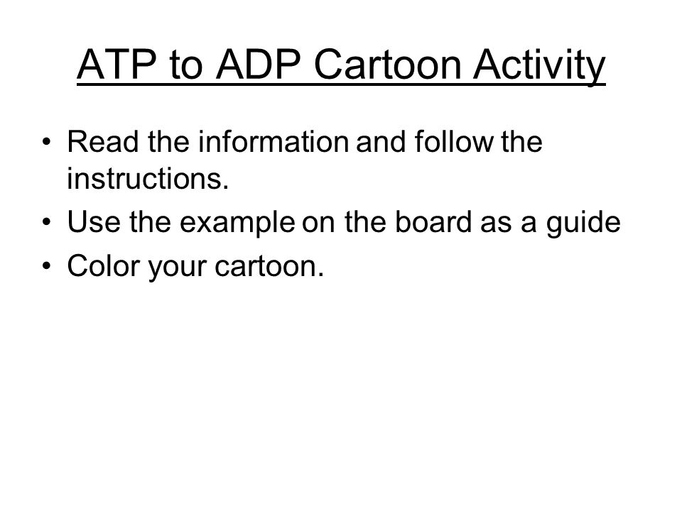 ATP to ADP Cartoon Activity