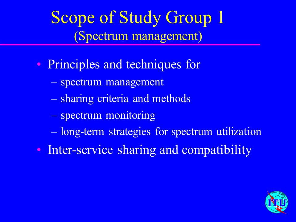 Scope of Study Group 1 (Spectrum management)