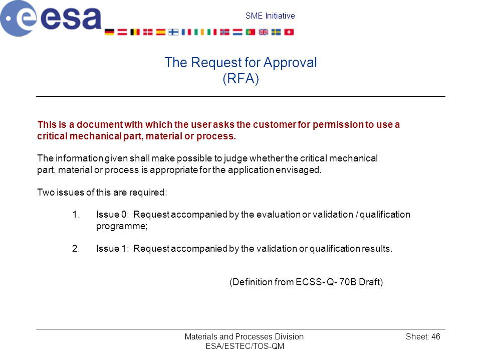 The Request for Approval (RFA)