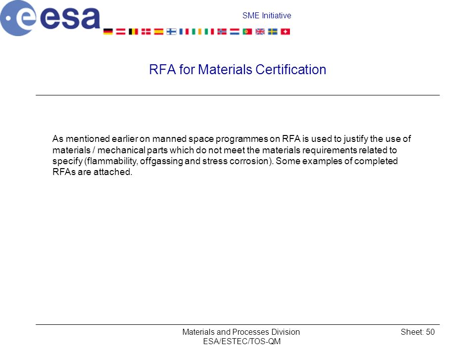 RFA for Materials Certification