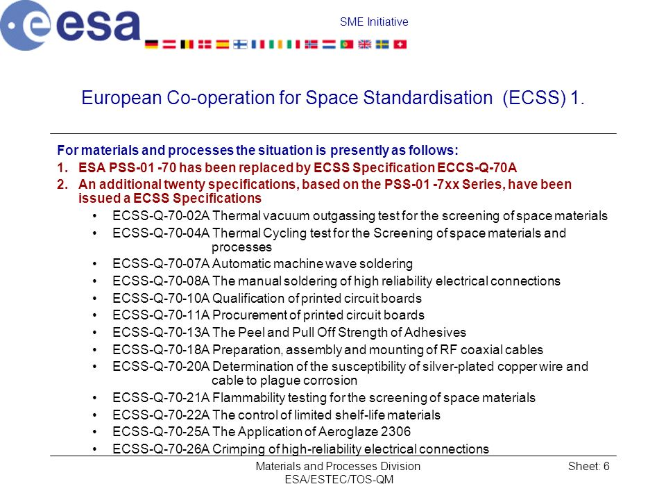 European Co‑operation for Space Standardisation (ECSS) 1.