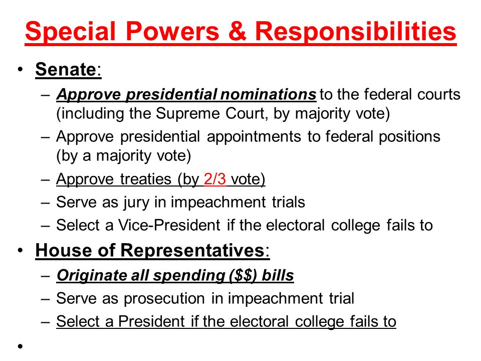 Special Powers & Responsibilities
