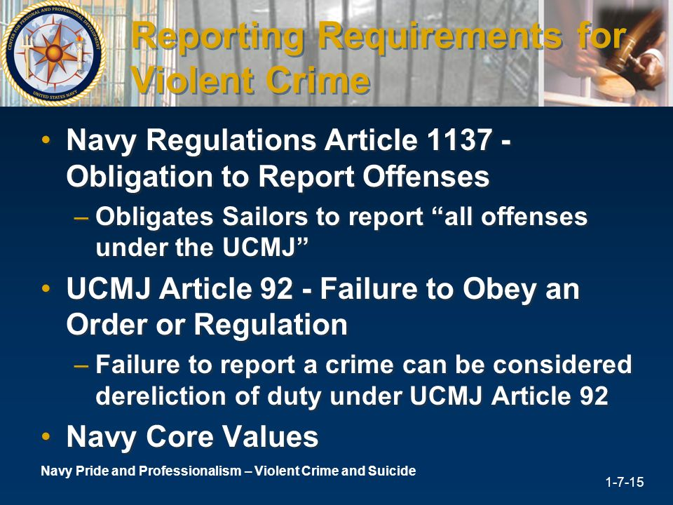 Reporting Requirements For Violent Crime