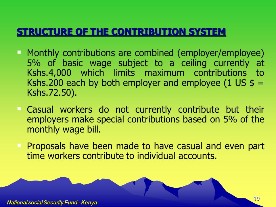 STRUCTURE OF THE CONTRIBUTION SYSTEM