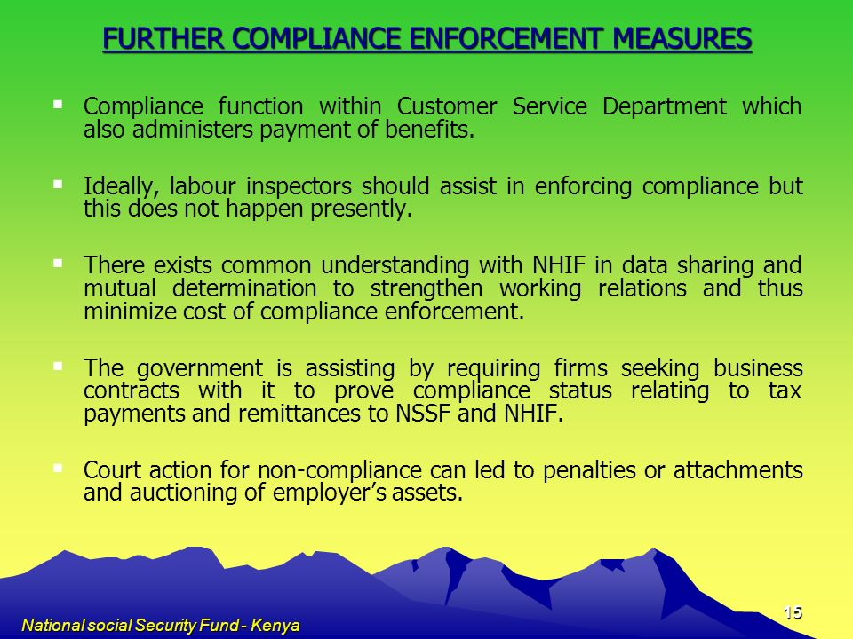 FURTHER COMPLIANCE ENFORCEMENT MEASURES