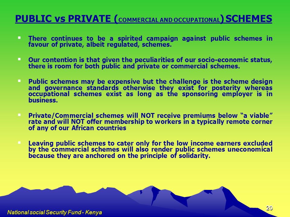 PUBLIC vs PRIVATE (COMMERCIAL AND OCCUPATIONAL) SCHEMES