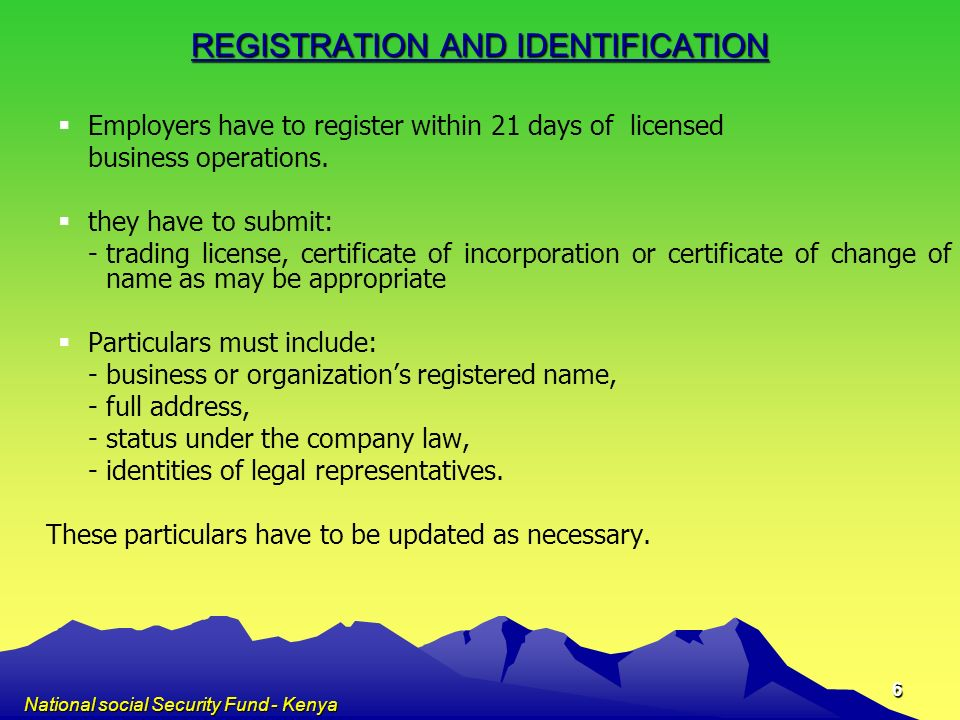 REGISTRATION AND IDENTIFICATION