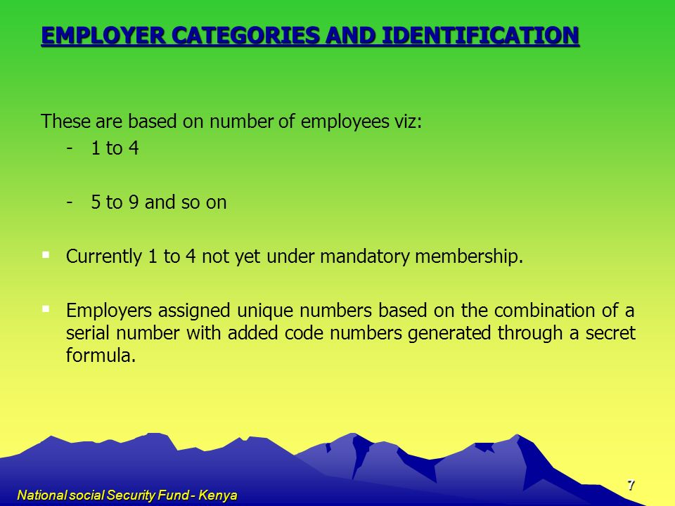 EMPLOYER CATEGORIES AND IDENTIFICATION