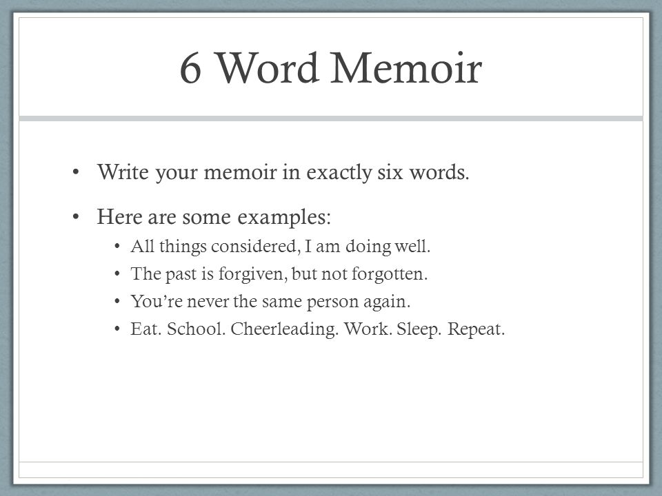 6 Word Memoirs Examples Choice Image Example Cover Letter For Resume