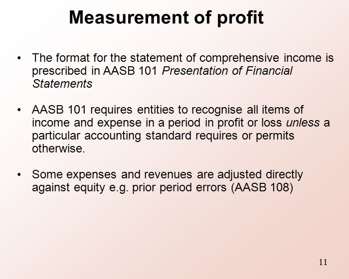 Measurement Of Profit The Format For Statement Comprehensive Income Is Prescribed In AASB 101