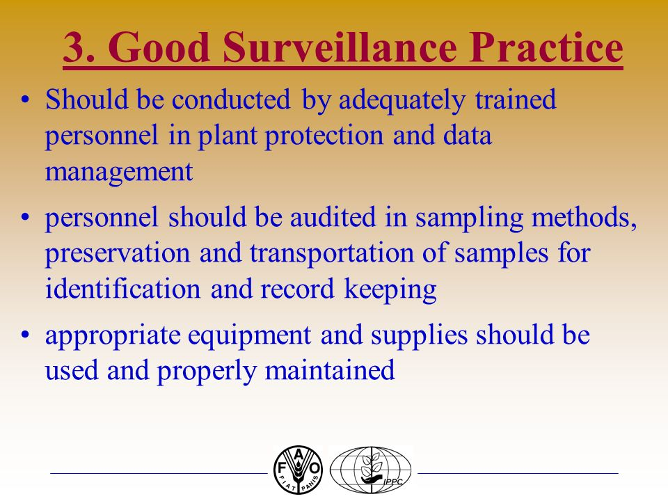 3. Good Surveillance Practice