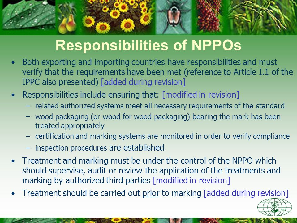 Responsibilities of NPPOs