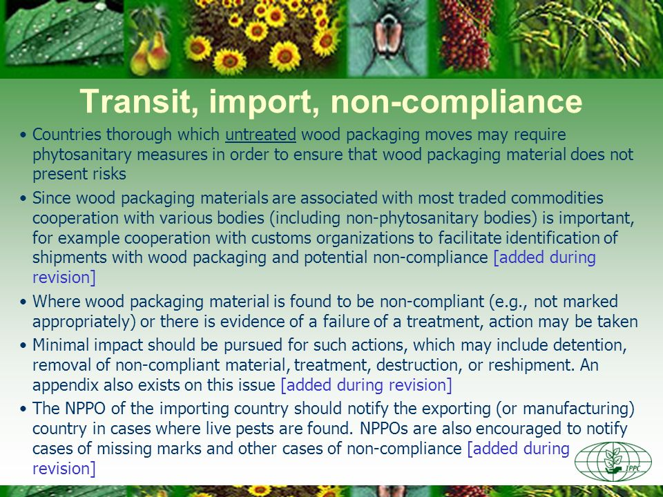 Transit, import, non-compliance
