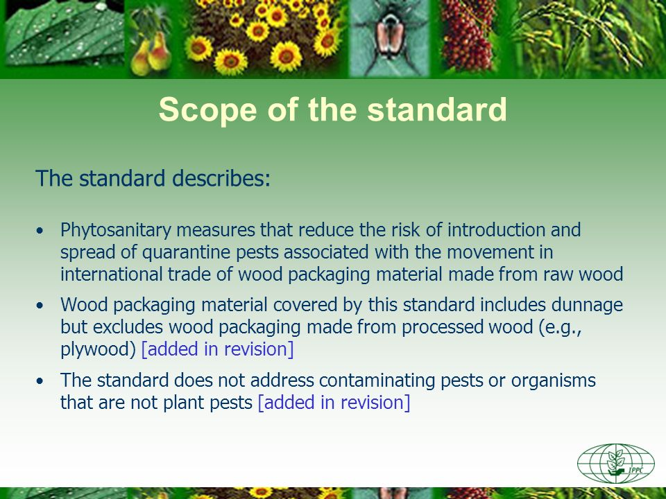 Scope of the standard The standard describes: