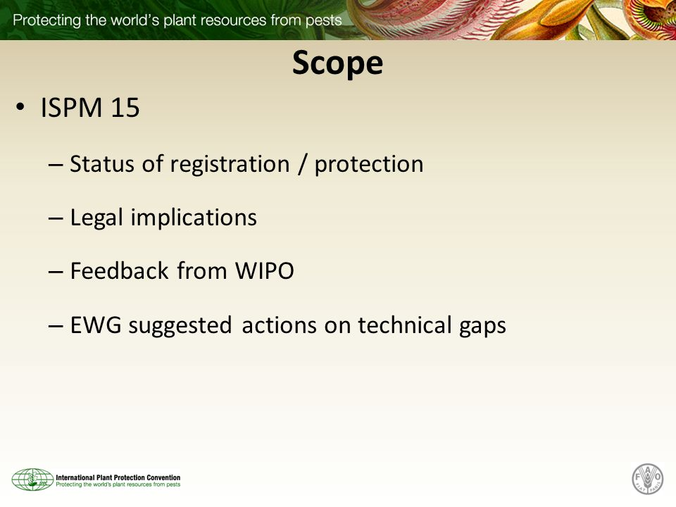 Scope ISPM 15 Status of registration / protection Legal implications