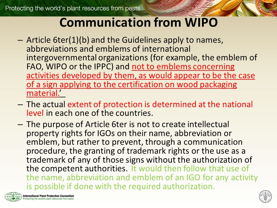 Communication from WIPO