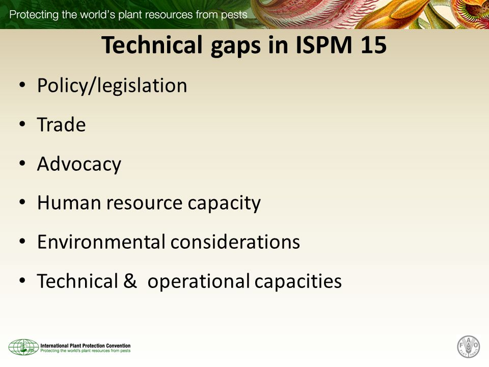 Technical gaps in ISPM 15 Policy/legislation Trade Advocacy