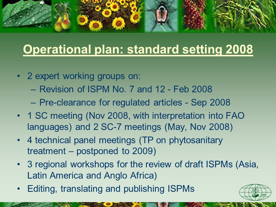 Operational plan: standard setting 2008