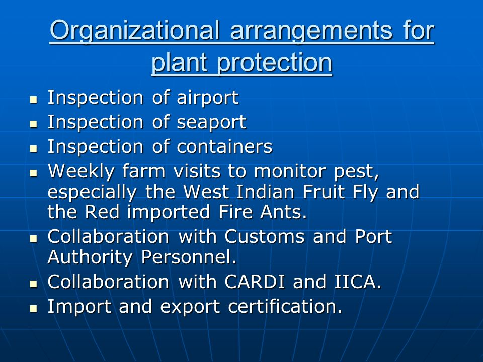 Organizational arrangements for plant protection