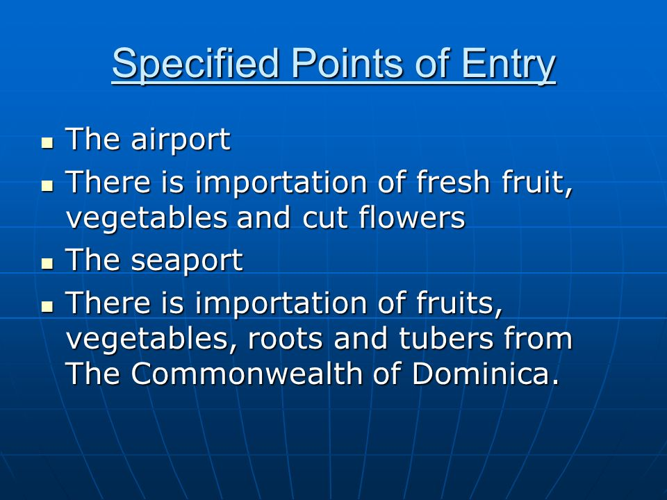 Specified Points of Entry